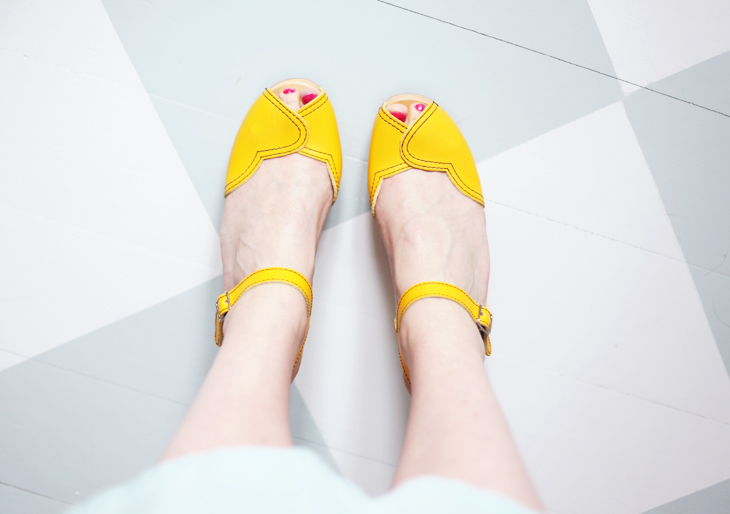 swedish hasbeens yellow shoes by emmas vintage