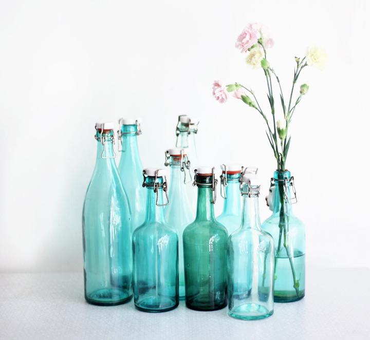 gröna glasflaskor by emmas vintage
