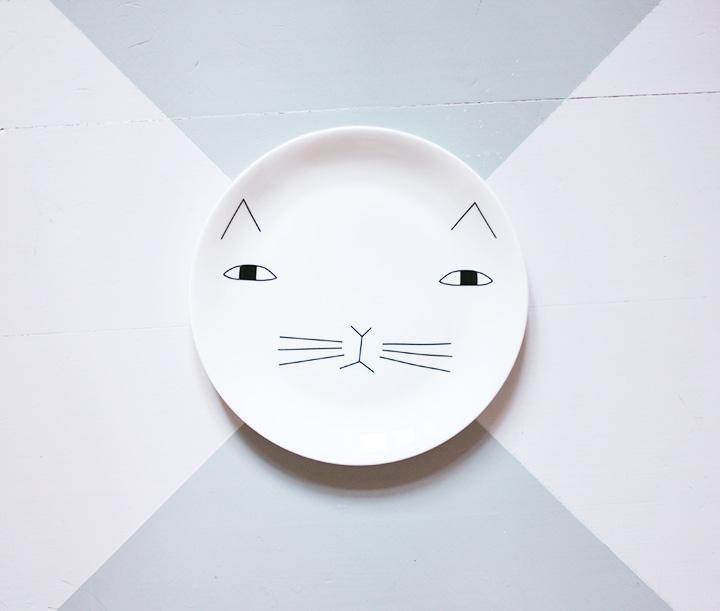 cat plate by emmas vintage