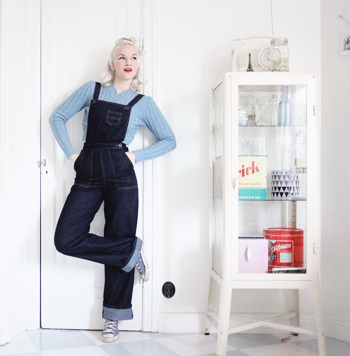 jeans hängselbyxor vintage mode