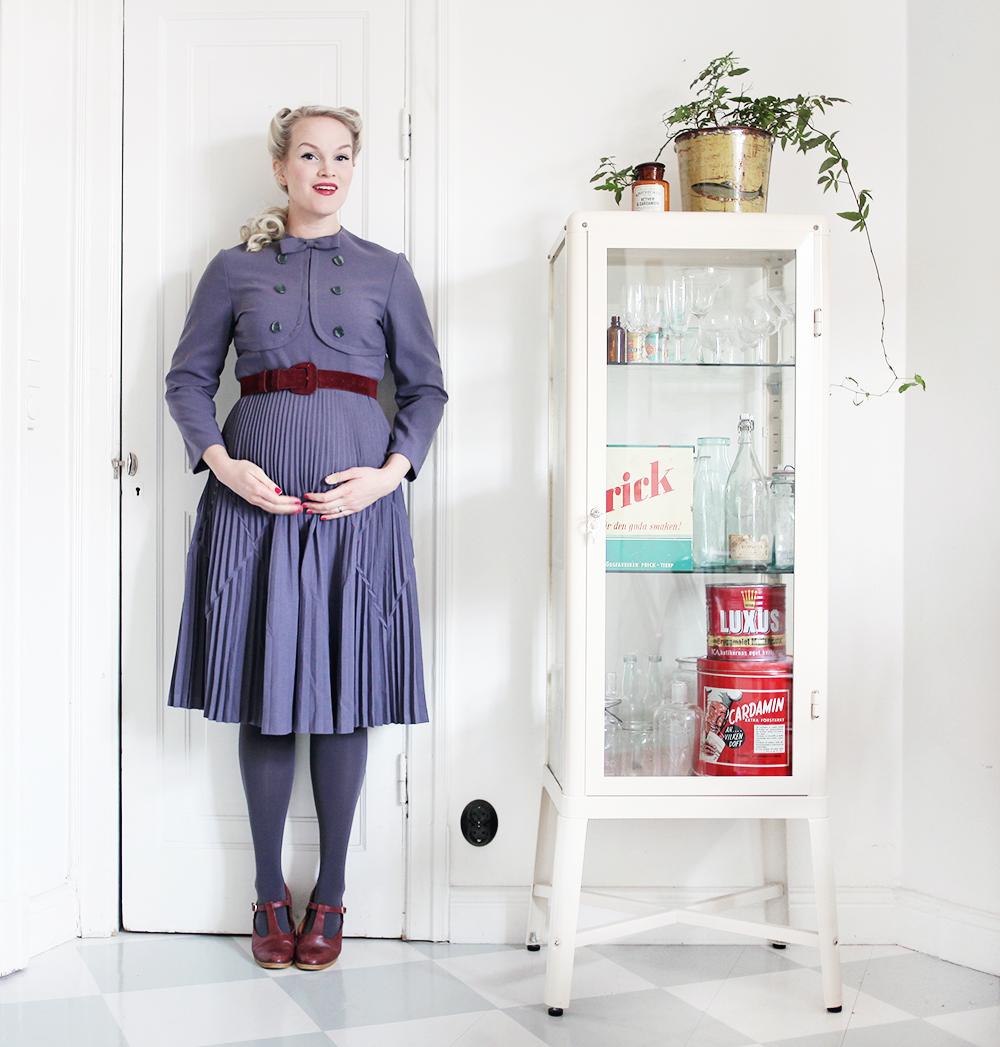 mode klänning vintage gravidkläder gravid gravidmage vecka 17