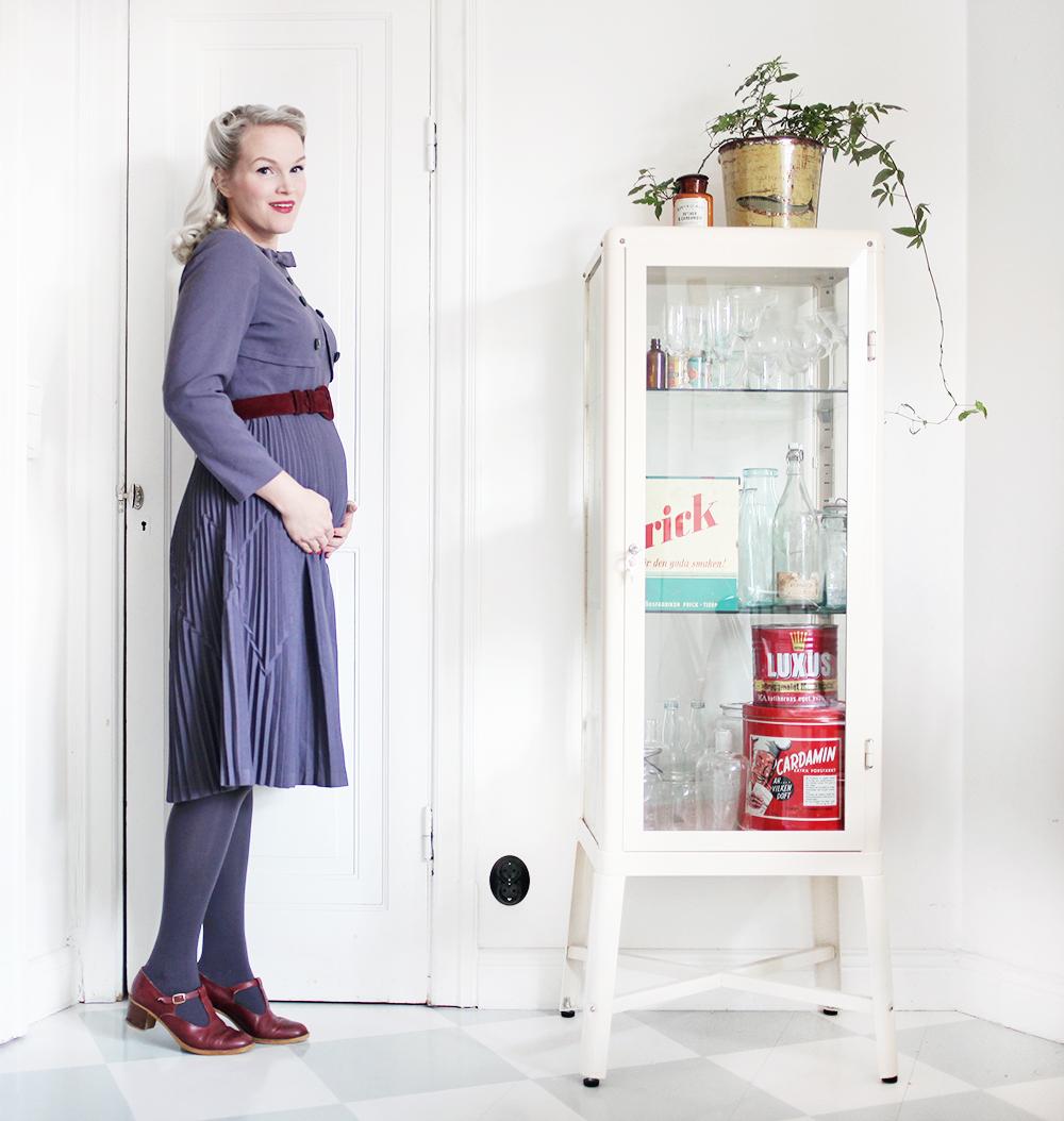 vintageklänning vintage gravidkläder gravid gravidmage vecka 17