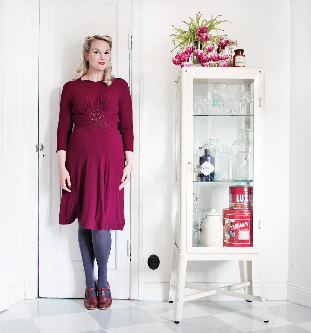 gravid vintage kläder mode gravidkläder gravidklänning 40-tal
