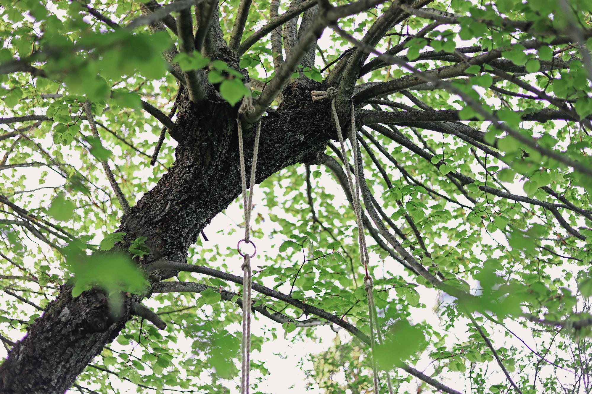 gunga stol DIY trädgård upphängning hänga upp