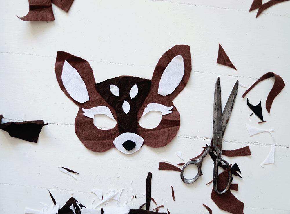 DIY djurmask bambi leksak mask barn leksak leksaker filttyg rådjur