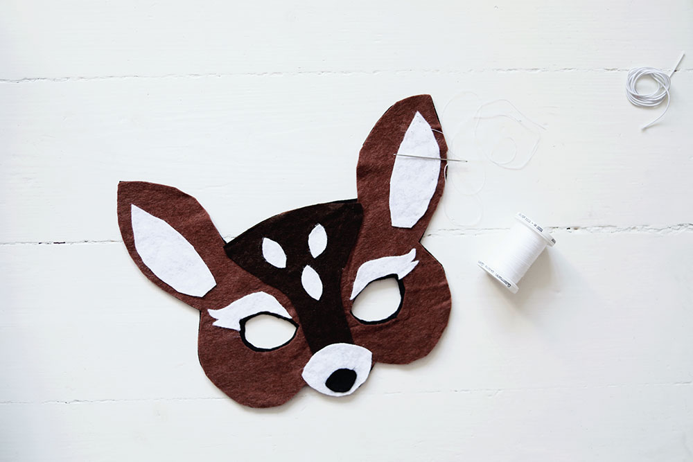 DIY djurmask bambi leksak mask barn leksak leksaker filttyg rådjur steg-för-steg kids toy