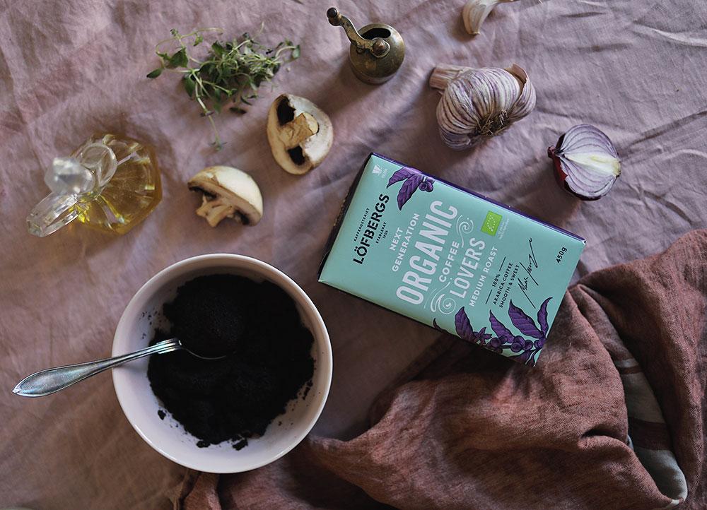 kaffe kaffesump återbruk hållbarhet Löfbergs marinera mat recept vegetariskt grilla